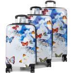 Set 3 valises rigides Madisson Papillons Fleuris Bleu blanc