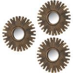 Set de 3 miroirs ronds soleils or antique D25