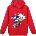 Silver Basic Sweat-Shirt Sonic Sonic Le Herisson Hoodie Casual Décontracté Basique Capuche Manche Longue Ado Enfant Garçon 130,Rouge Sonic et Silver-1