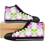 Skull Gothic Fashionwomen's High-Top Sneakers, Grunge Shoes, Rave Party Cloths, Punk Witch Shoes, Goth Running Sneakers, Custom Canvas Shoes