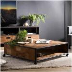 SO INSIDE Table basse à roulettes design industriel teck et métal 100x100cm Tinesixe