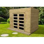 Solid Abri de Jardin en Bois Traité Capri 19 mm - 6 m² avec Toit Plat - S8731-1