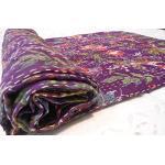 Sophia Art Parure de lit indienne bohème en coton Kantha style vintage ethnique en coton Motif oiseaux Traditionnelle 90X108 inches violet