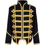 Steampunk Emo Punk Goth Militaire Officier Parade Veste - Noir & Or (L Homme)