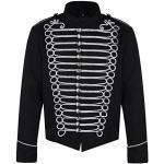Steampunk Emo Punk Napoleon Militaire Officier Parade Veste Blouson - Noir Argent (Homme L)