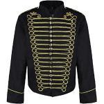 Steampunk Emo Punk Napoleon Militaire Officier Parade Veste Blouson - Noir & Or (Homme XXL)