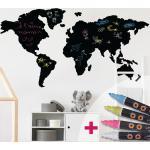 Sticker ardoise carte du monde + 4 craies liquides