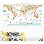 Sticker carte du monde pastel