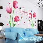 Sticker mural amovible Tulipe Fleur Décoration de chambre d'enfant, En PVC, comme sur l'image, taille unique