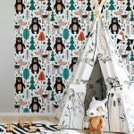 Sticker papier peint enfant des animaux du bois d'ailleurs