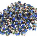 superbijoux Lot de 20 perles cloisonnées chinoises rondes 8 mm 8mm bleu fonçé vif