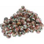 superbijoux Lot de 20 perles cloisonnées chinoises rondes 8 mm 8mm rose