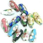 superbijoux Lot de 6 perles cloisonnées chinoises larme goutte mix