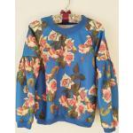 Sweatshirt Imprimé Roses Au Fond Bleu