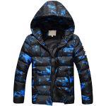 SXSHUN Doudoune Garçons Manteau d'hiver Matelassé à Capuche Imprimé Camouflage Enfant Epaisse Blouson Veste Chaud, Bleu, 11 Ans / 150cm