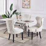 Table À Manger Extensible Effet Marbre Blanche & Grise + 4 Chaises En Velours Cloutées Beiges - Design & Moderne - L 140-180cm