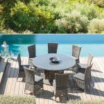 Table de jardin ronde Mooréa Terre d'ombre