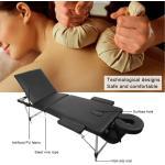 Table De Massage Pliante, Lit Cosmétique Pliante Aluminium Professionnel, Lit De Massage Portable, Avec Housse De Transport,Noir-15550g