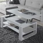 Table salon relevable blanche design TARN 2