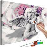 Tableau à Peindre Soi-Même Ange Fleurs au Fond 40x60cm