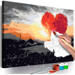 Tableau à Peindre Soi-Même Arbre en Forme de Coeur Lever de Soleil 40x60cm