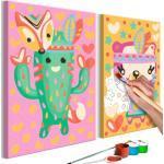 Tableau à Peindre Soi-Même Cactus & Ours 23x33cm - Paris Prix