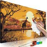 Tableau à Peindre Soi-Même Giraffe at Sunset 40x80cm - Paris Prix