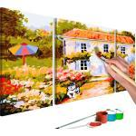 Tableau à peindre soi-même peinture par numéros en 3 parties motif Maison de campagne 80x50 cm TPN110108