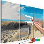 Tableau à peindre soi-même peinture par numéros en 3 parties motif Plage (ciel bleu) 60x40 cm TPN110132