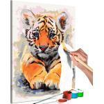 Tableau à peindre soi-même peinture par numéros motif Bébé tigre 40x60 cm TPN110019