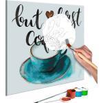 Tableau à peindre soi-même peinture par numéros motif But First Coffee 40x40 cm TPN110026