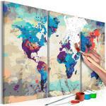 Tableau à peindre soi-même peinture par numéros motif Carte du monde (bleu et rouge) 3 parties 60x40 cm TPN110166