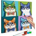 Tableau à peindre soi-même peinture par numéros motif Chats avec lunettes 40x40 cm TPN110042