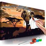 Tableau à peindre soi-même peinture par numéros motif Éléphant en Afrique 80x40 cm TPN110062
