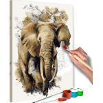 Tableau à peindre soi-même peinture par numéros motif éléphant géant 40x60 cm TPN110017