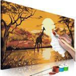 Tableau à peindre soi-même peinture par numéros motif Girafe au coucher du soleil 80x40 cm TPN110085