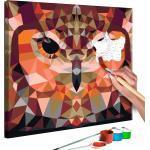 Tableau à peindre soi-même peinture par numéros motif Hibou géométrique 40x40 cm TPN110091