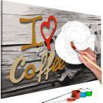 Tableau à peindre soi-même peinture par numéros motif I Love Coffee 60x40 cm TPN110098