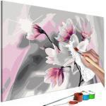Tableau à peindre soi-même peinture par numéros motif Magnolia (fond gris) 60x40 cm TPN110107