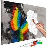 Tableau à peindre soi-même peinture par numéros motif Papillon coloré 60x40 cm TPN110051