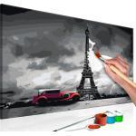 Tableau à peindre soi-même peinture par numéros motif Paris (Limousine rouge) 60x40 cm TPN110126