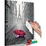 Tableau à peindre soi-même peinture par numéros motif Paris (Parapluie rouge) 40x60 cm TPN110127