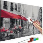Tableau à peindre soi-même peinture par numéros motif Paris sous la pluie 60x40 cm TPN110128