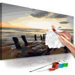 Tableau à peindre soi-même peinture par numéros motif Plage (lever de soleil) 60x40 cm TPN110133