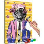Tableau à peindre soi-même peinture par numéros motif Tigre avec chapeau 40x60 cm TPN110154