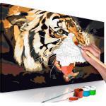 Tableau à peindre soi-même peinture par numéros motif Tigre rugissant 60x40 cm TPN110155