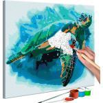 Tableau à peindre soi-même peinture par numéros motif Tortue 40x40 cm TPN110156