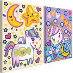 Tableau à peindre soi-même pour enfant en 2 parties motif Licornes (Bonjour et Bonne nuit) 33x23 cm TPN110174