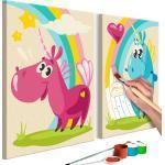 Tableau à peindre soi-même pour enfant en 2 parties motif Licornes mignonnes 33x23 cm TPN110181