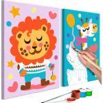 Tableau à peindre soi-même pour enfant en 2 parties motif Lion et girafe 33x23 cm TPN110182